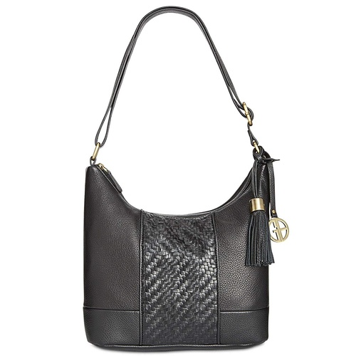 Giani Bernini Women's Leather Pebbled Shoulder Hobo Handbag Double Zip Fringe Black