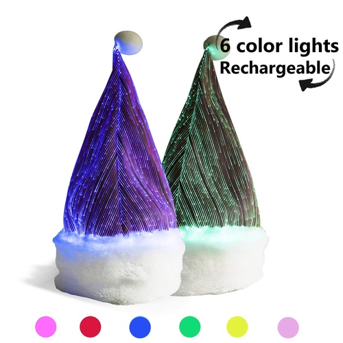 Flash House LED Fibre Optic Santa Hat