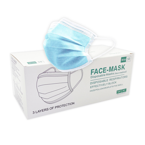 50x FDA and CE Certified 3 Ply Disposable Face Masks